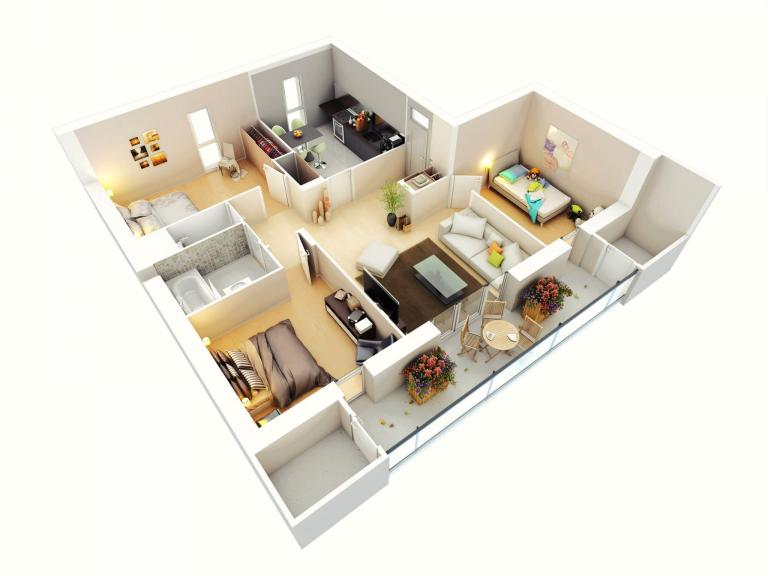 Phối cảnh thiết kế chung cư 3 phòng ngủ