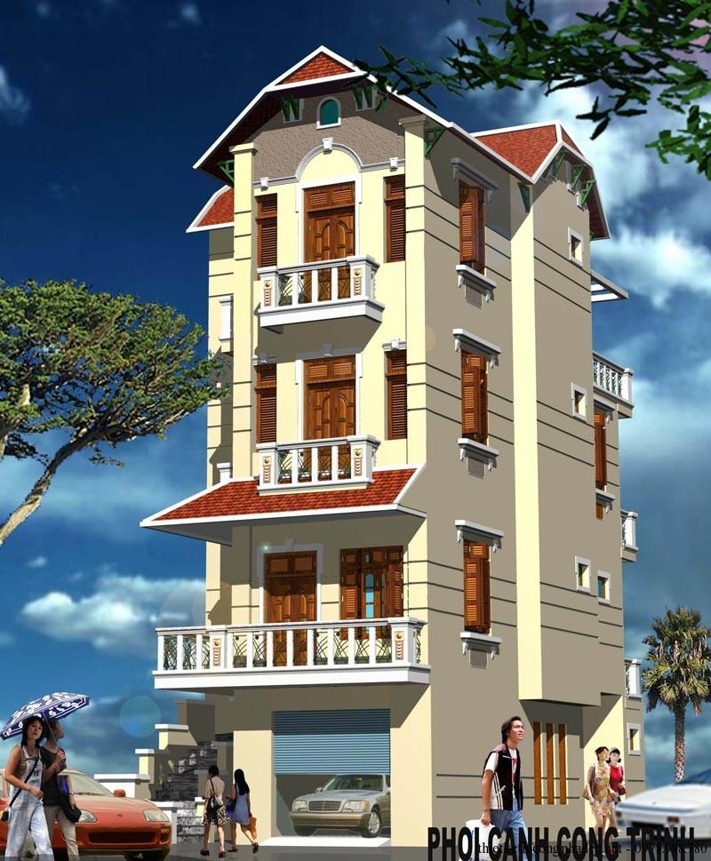 Thiết kế nhà mặt phố 4 tầng đẹp
