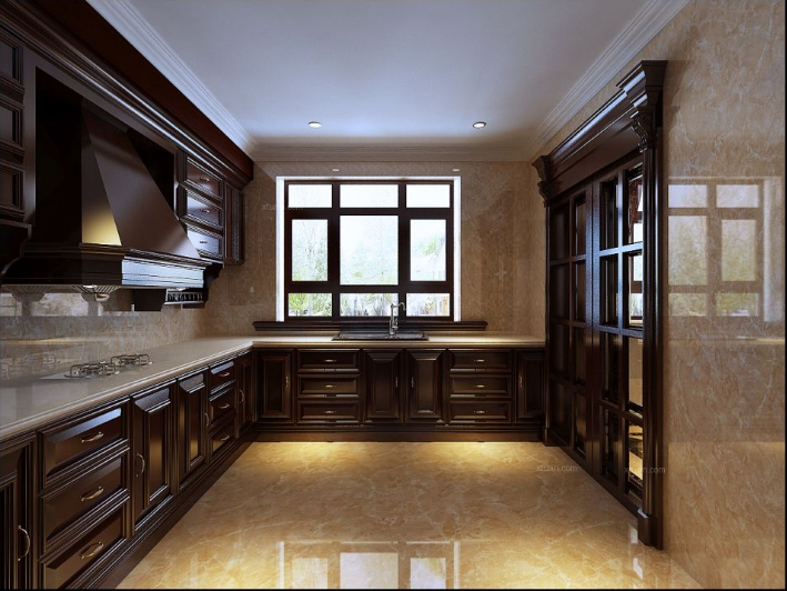Thiết kế phòng bếp cho biệt thự tân cổ điển