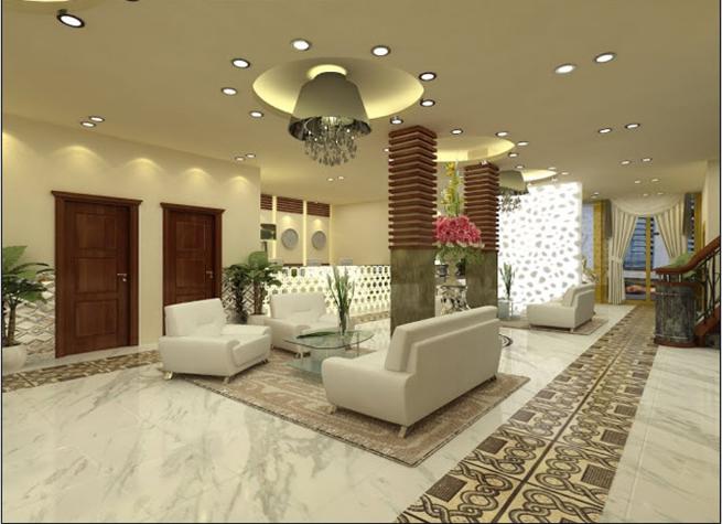 Thiết kế phòng khách biệt thự phong cách hiện đại