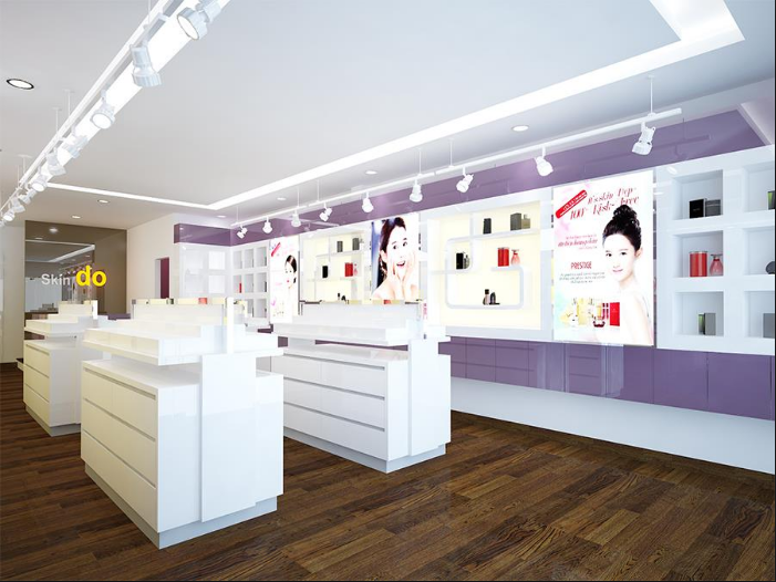 Thiết kế showroom mỹ phẩm đẹp và ấn tượng