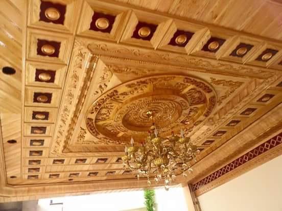 trần gỗ phòng khách 2