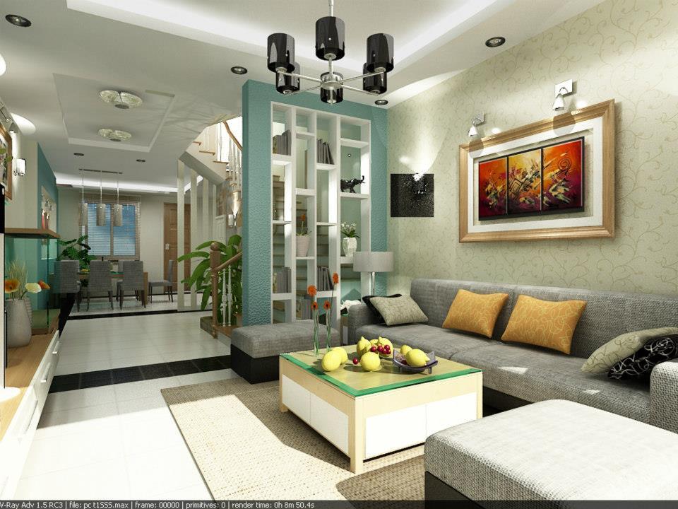 Trần thạch cao phòng khách nhà tầng