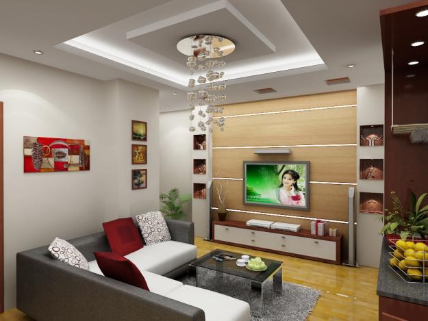 Trần thạch cao phòng khách chung cư đẹp