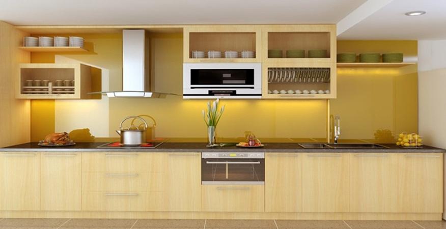 Tủ bếp gỗ sồi chống mối mọt