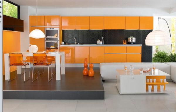 tủ bếp màu cam- mẫu số 1