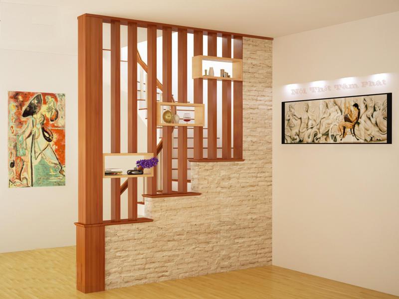 vách ngăn cột gỗ cho cầu thang