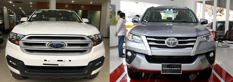 So sánh Ford Everest 2.2L MT với Toyota Fortuner 2.4G