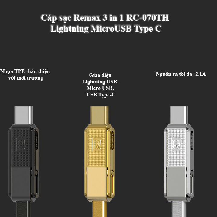 Cáp sạc Remax 3 in 1 RC-070TH Lightning MicroUSB Type C (Vàng)