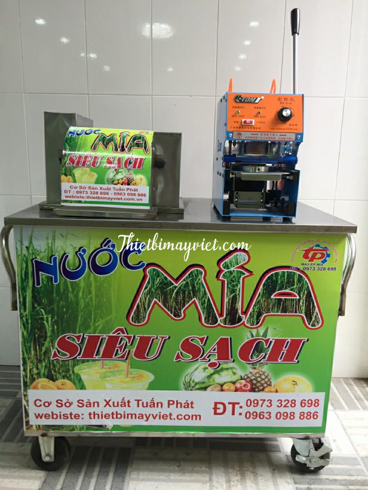 Máy ép mía bàn dài 3 lô inox đặc Sài Gòn ép 2 cây