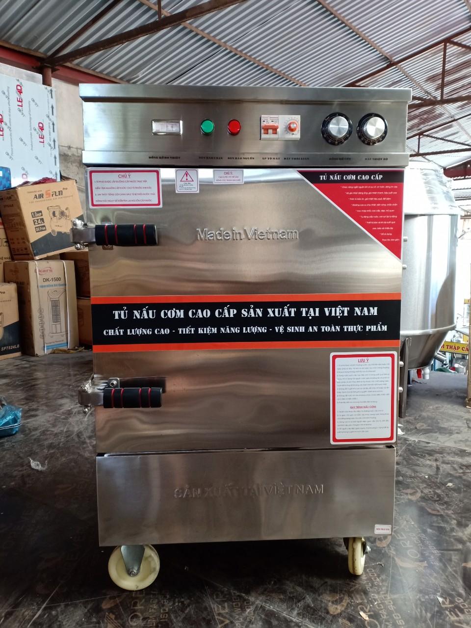 Tủ Nấu Cơm Điện 6 Khay 4 Trong 1 Có Hẹn Giờ Aptomat Kết Hợp Đồng Hồ Báo Nhiệt Độ Và Chế Độ Ủ Giữ Nhiệt với Còi Báo Cạn Nước