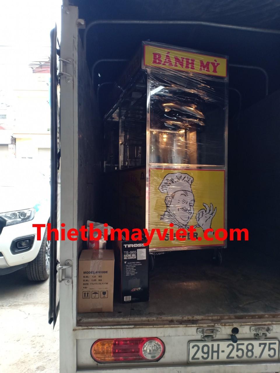 Xe Bánh Mì Doner 1m8 bánh xe đen