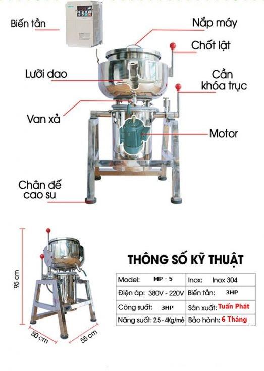 Máy Xay Giò Chả Công Nghiệp 35KG Điện Áp 360V Công Xuất 30Hp