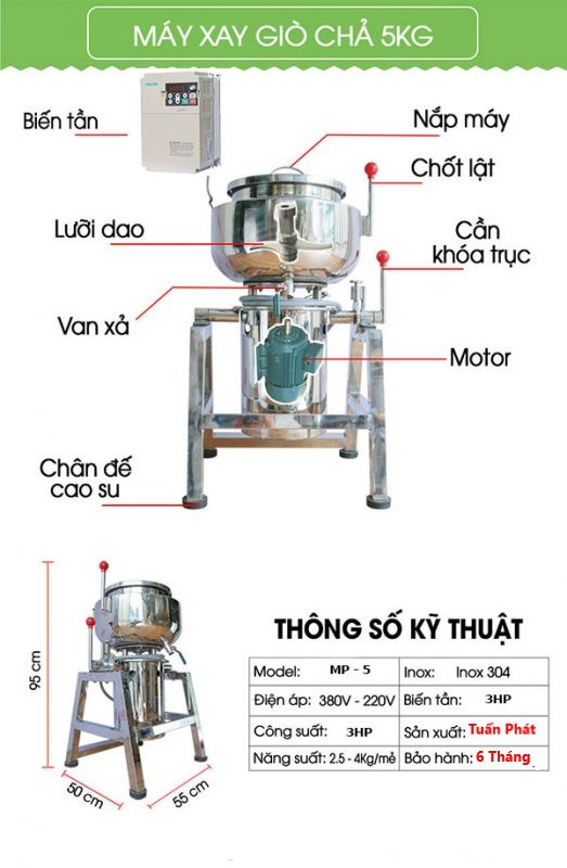 Máy Xay Giò Chả Công Nghiệp 5KG Điện Áp 360V Công Xuất 15Hp
