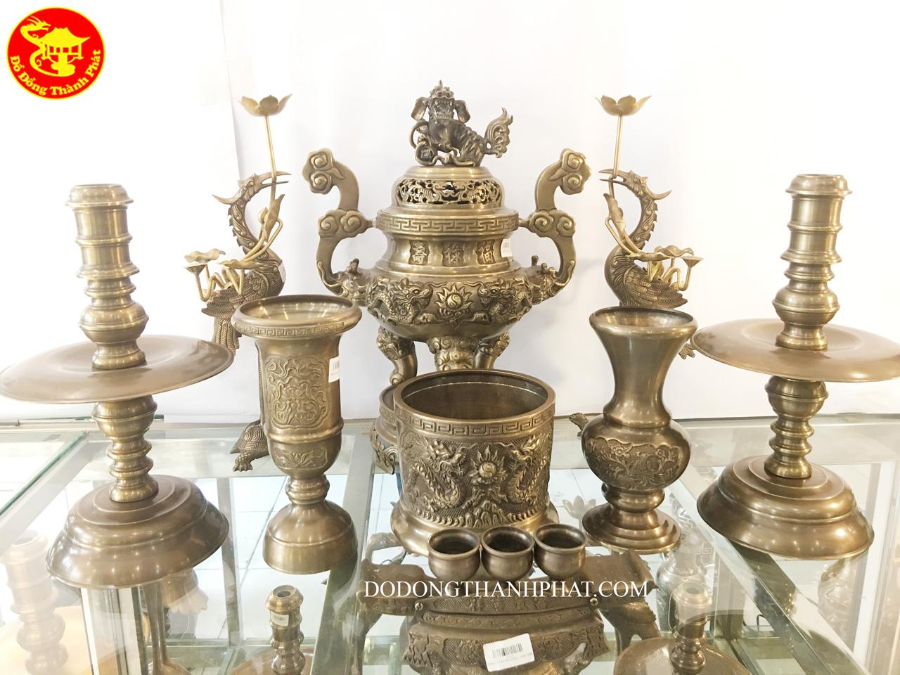 Bộ đồ thờ cúng bằng đồng 9 món gồm đỉnh đồng song long trầu nguyệt 45