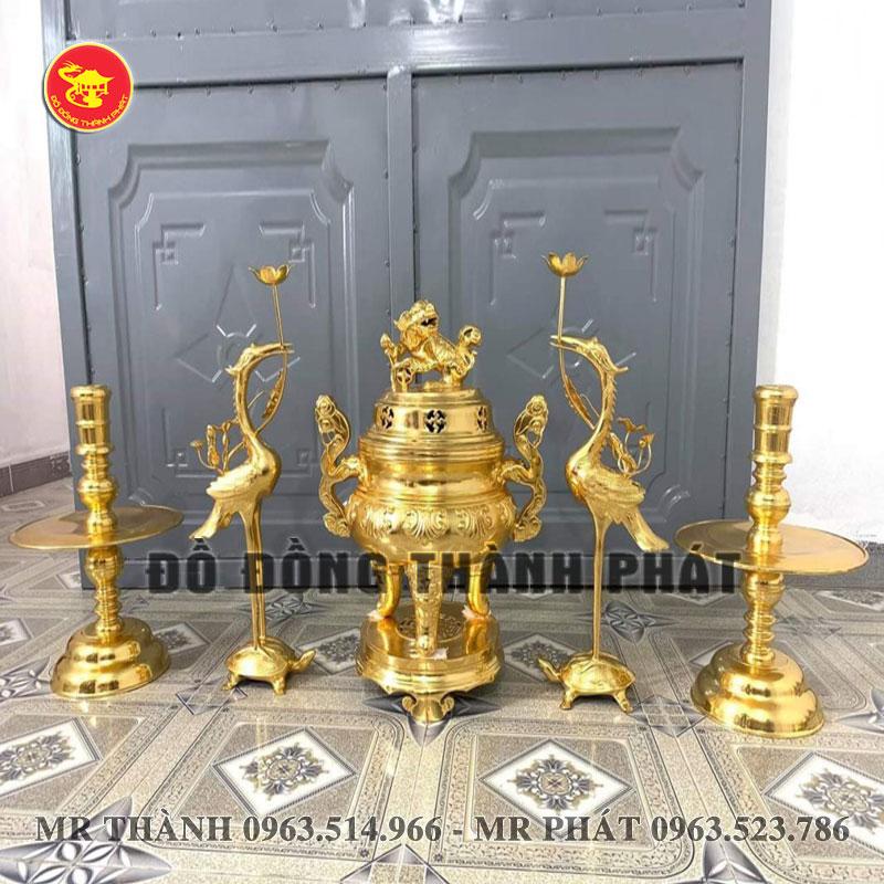 bộ ngũ sự bằng đồng mạ vàng 24 k cao 53 cm