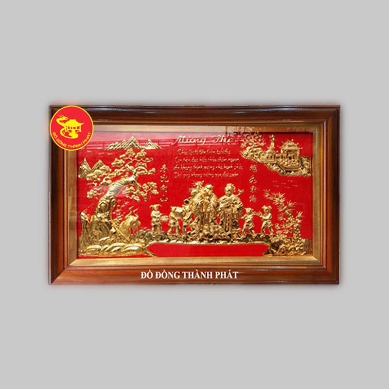 Tranh Đồng Mừng Thọ Mạ Vàng 24k