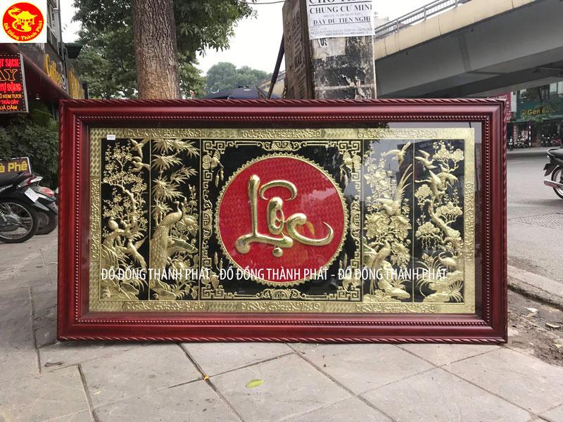 Tranh Tứ Quý Chữ Lộc Bằng Đồng