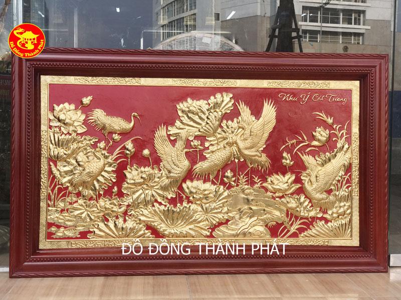 """Tranh Đồng Sen Hạc """" Như Ý Cát Tường"""" Dát Vàng 9999"""