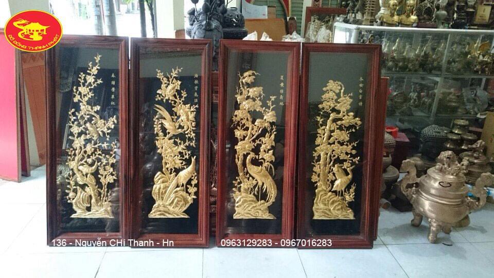 Vàng 9999: Tranh Đồng Tứ Quý Thiếp Vàng 9999