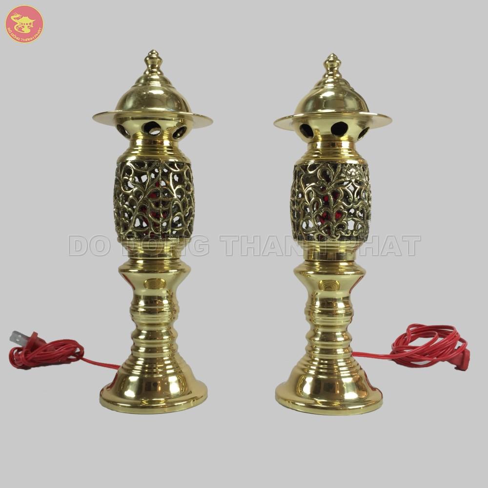 Đèn thờ phật quang phổ chiếu quả dứa đồng vàng cao 35 cm