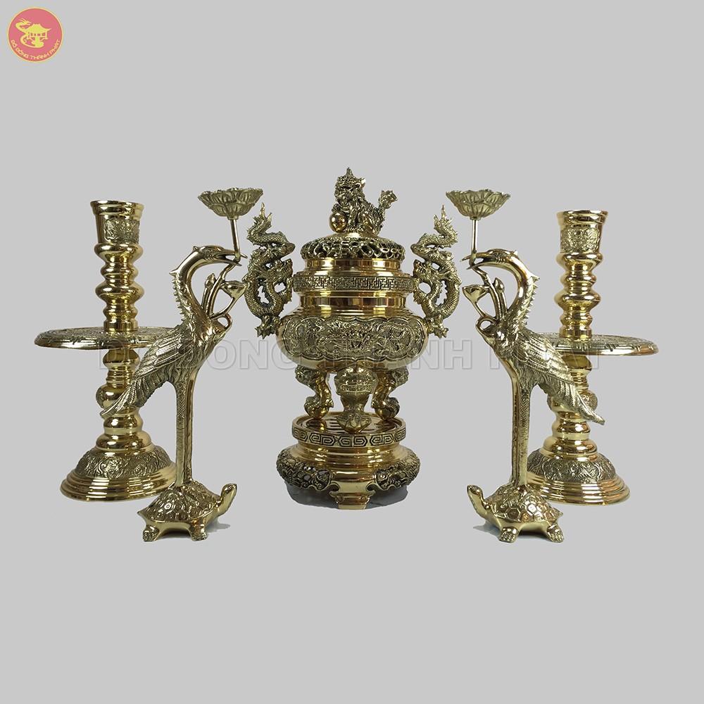 Bộ ngũ sự giao long bằng đồng vàng cao 25 cm