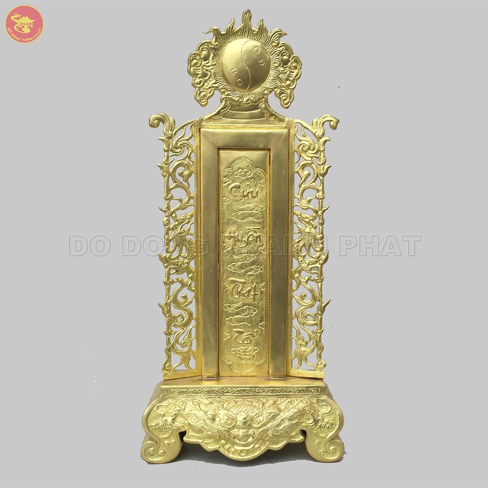 Bài vị thờ gia tiên bằng đồng cao 42 cm