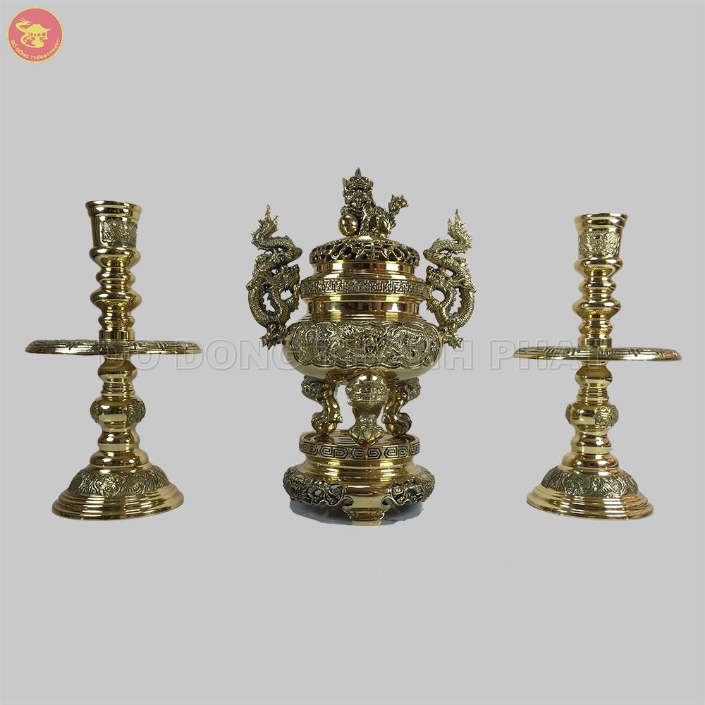 Bộ tam sự đỉnh nến giao long bằng đồng vàng cao 25 cm