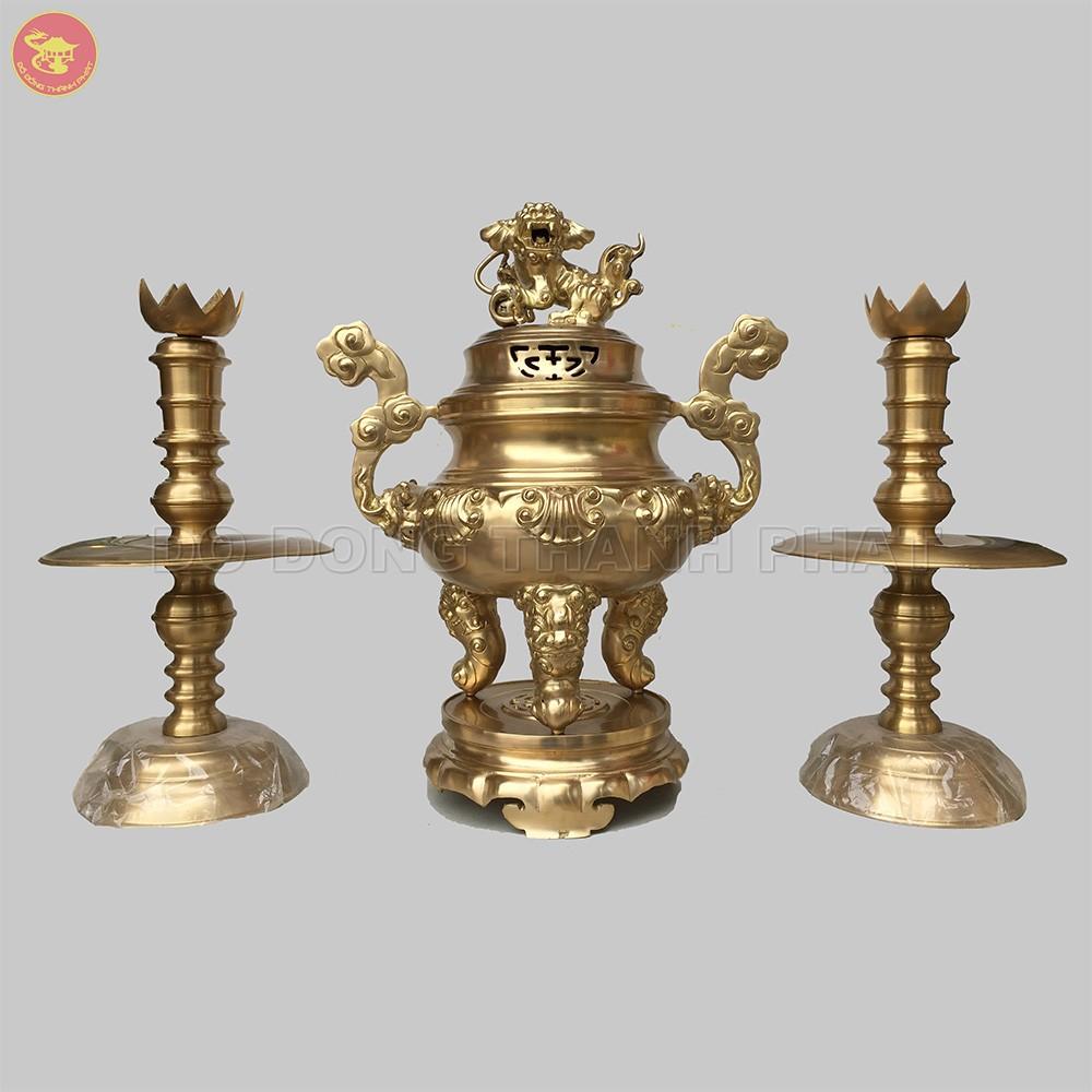 Bộ tamsự nếnhoa sòi đồng vàng cao 40 cm