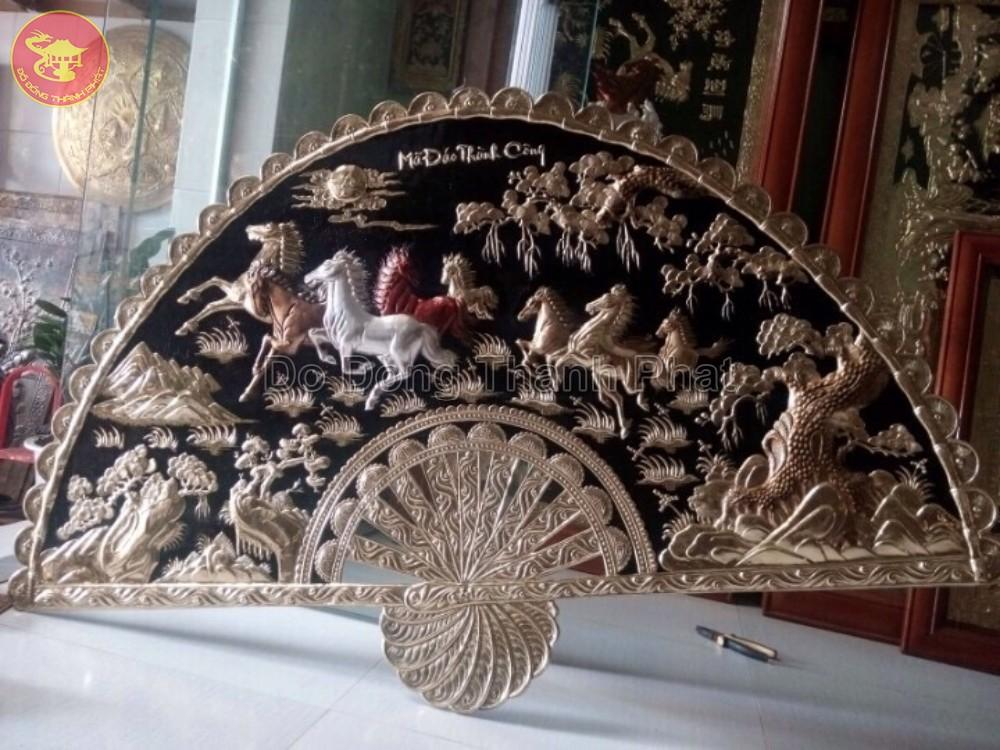 Tranh Quạt Đồng Mã Đáo Thành Công Dài 1,2 m, cao 68 cm