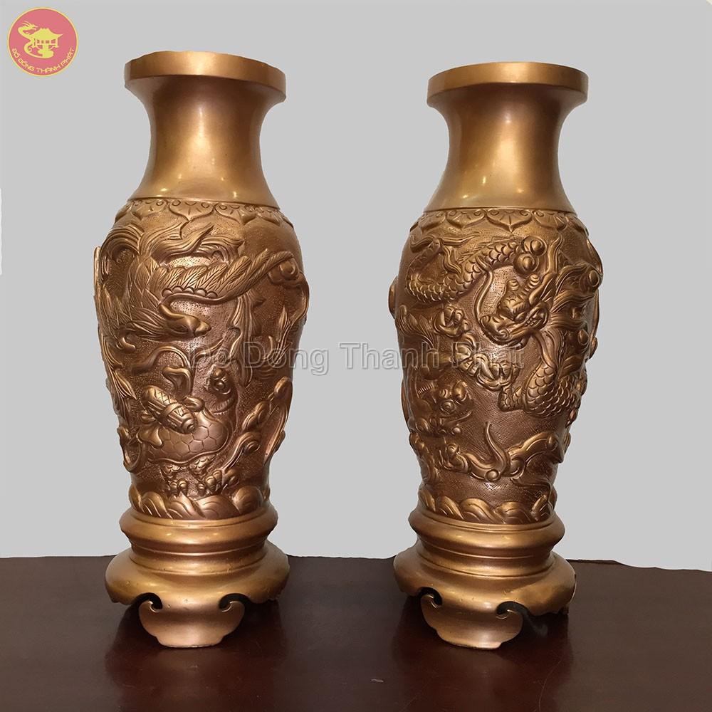 Lọ Hoa Khảm Long Phụng Bằng Đồng Đỏ Cao 50 cm