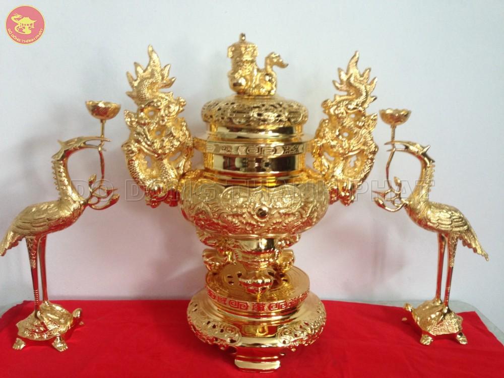 Bộ tam sự đỉnh hạc bằng đồng mạ vàng Cao 56 cm