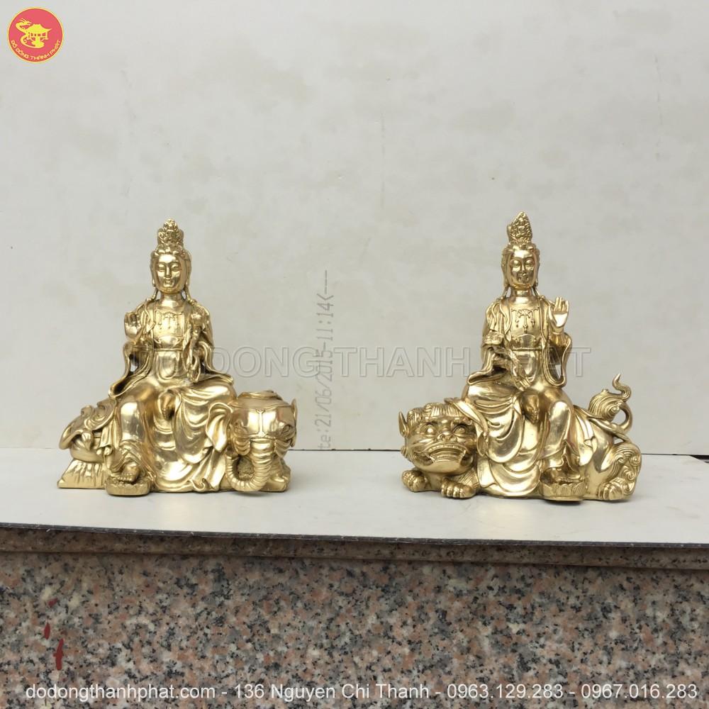 Địa chỉ bán tượng phật tát văn thù phổ hiền đồng vàng đẹp uy tín tại Hà Nội, Đà Nẵng, HCM