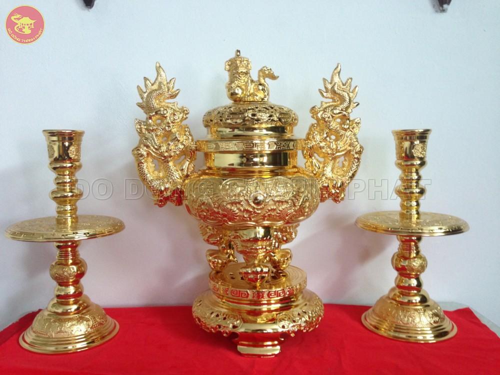 Bộ tam sự đỉnh nến đồng mạ vàng 24k cao 56 cm