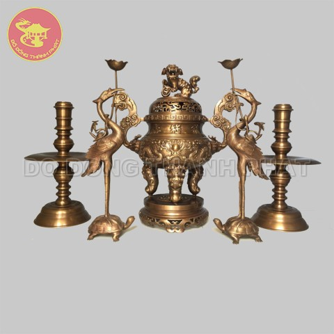 Bộ đồ thờ cúng bằng đồng ngũ sự long phụng giả cổ đồng hun cao 50 cm