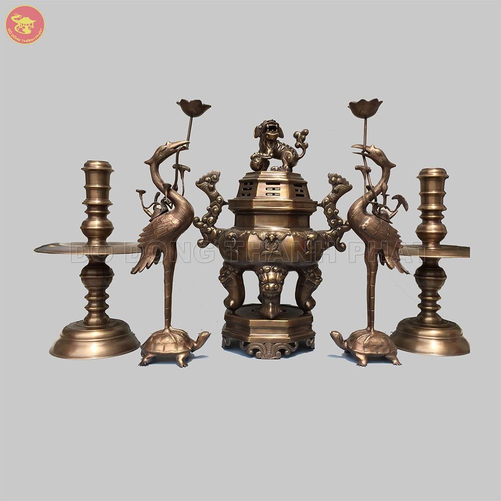 Bộ đồ thờ bằng đồng ngũ sự bát giác giác dơi phúc cao 60 cm