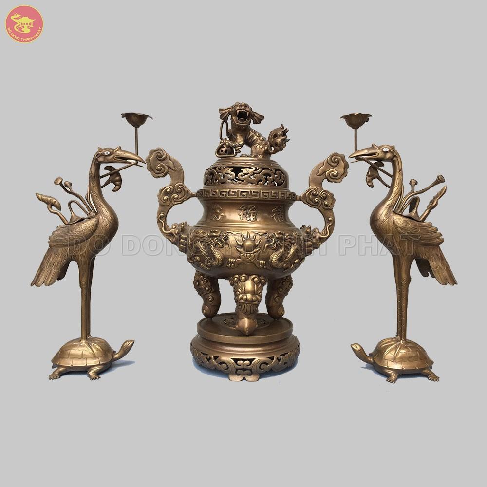 Bộ đồ thờ cúng bằng đồng tam sự đỉnh hạc long phụng giả cổ đồng hun cao 60 cm