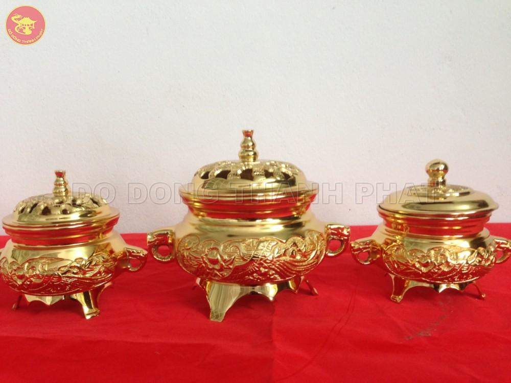 Lư đốt trầm hương bằng đồng mạ vàng 24k
