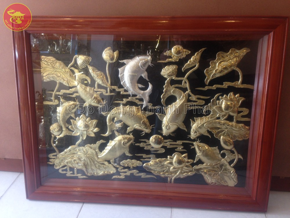 Tranh đồng mỹ nghệ cửu ngư quần hội  Địa Chỉ Bán Tranh Đồng Đẹp Uy Tín