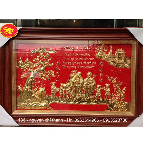 Tranh Đồng Mừng Thọ Song Cụ Mạ Vàng| Địa Chỉ Bán Tranh Đồng Tại Hà Nội