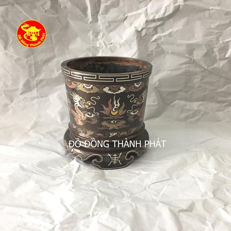 Bát Hương Đồng Khảm Ngũ Sắc Cao Cấp Đường Kình 14cm Thờ Gia Tiên