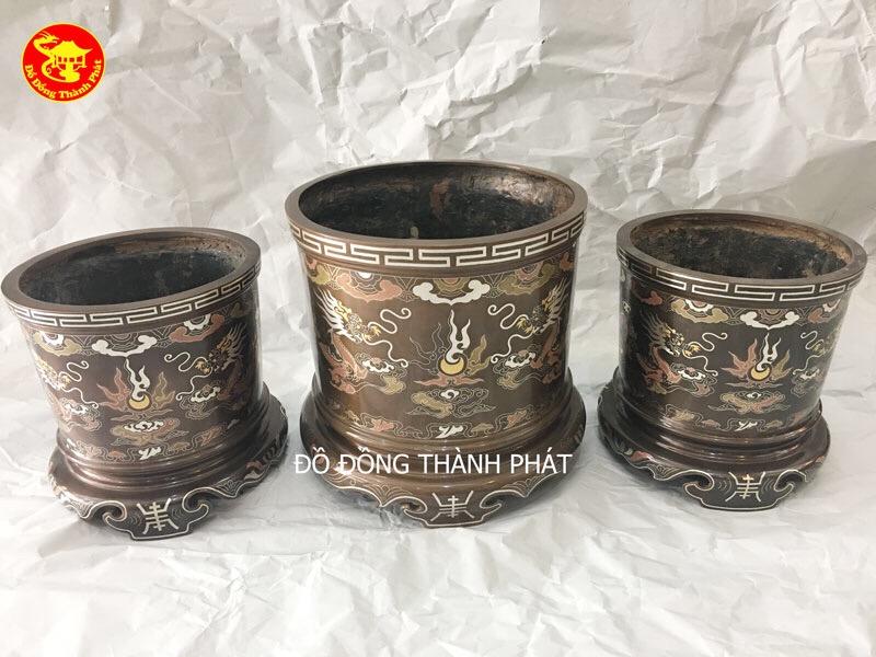Bộ 3 Bát Hương Đồng Khảm Ngũ Sắc Đường Kính 16cm-20cm