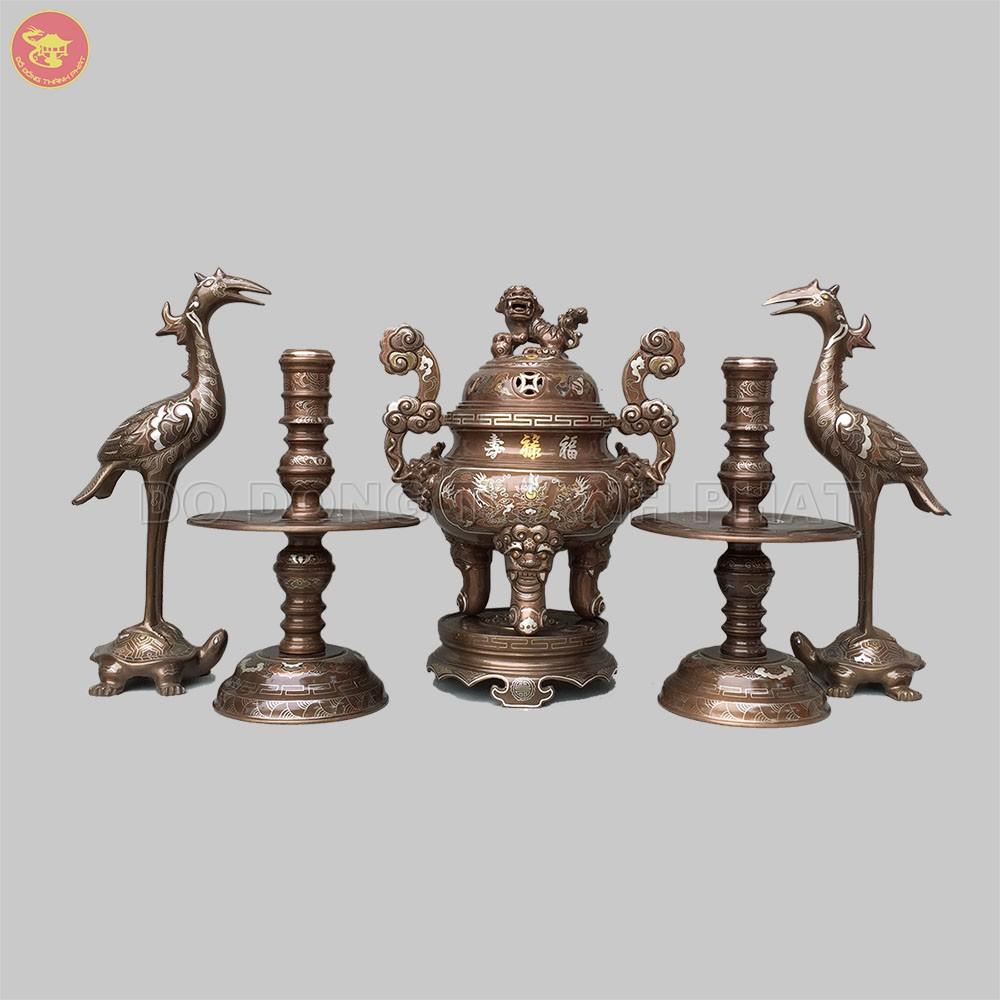 Bộ đồ thờ bằng đồng ngũ sự khảm ngũ sắc 1 chữ vàng cao 40 cm