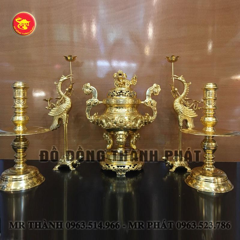Bộ ngũ sự bằng đồng mạ vàng 9999 cao 40 cm cao cấp