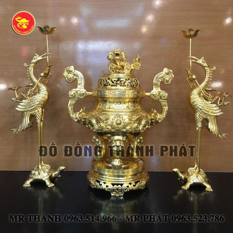 Bộ tam sự đỉnh hạcbằng đồng mạ vàng 9999 cao cấp