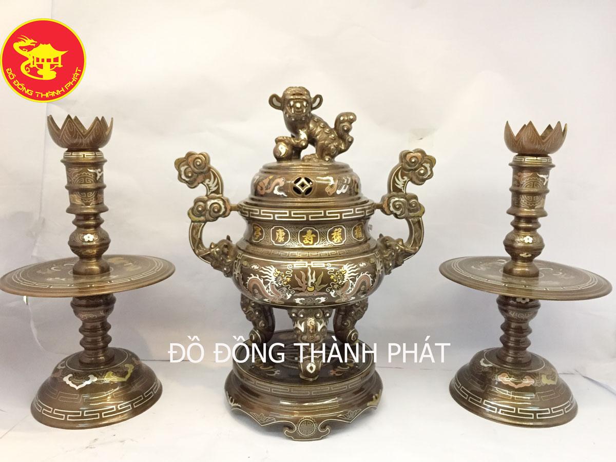 Bộ đồ thờ bằng đồng ngũ sự ngũ sắc cao 50cm