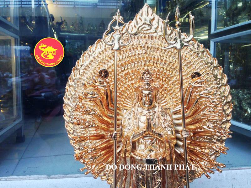 Tượng Đồng  Bồ Tát Thiên Phù Thiên Nhãn Mạ Vàng