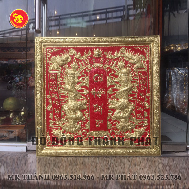 Bài Vị Cửu Huyền Thất Tổ Bằng Đồng Vàng kích thước 81x81 cm
