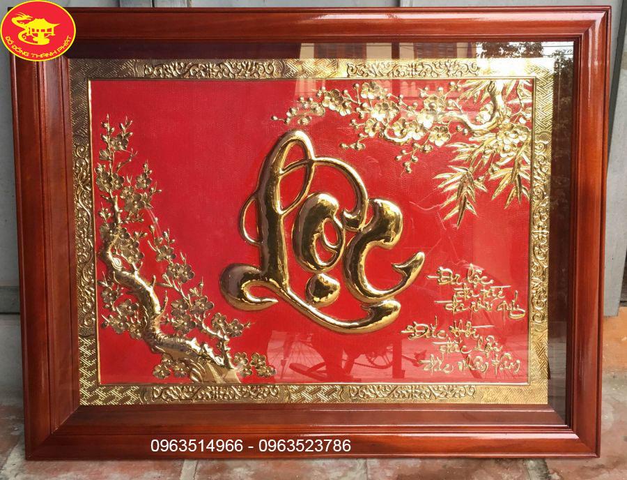 Tranh chữ lộc, quà tặng tranh chữ lộc mạ vàng 24k cao cấp.