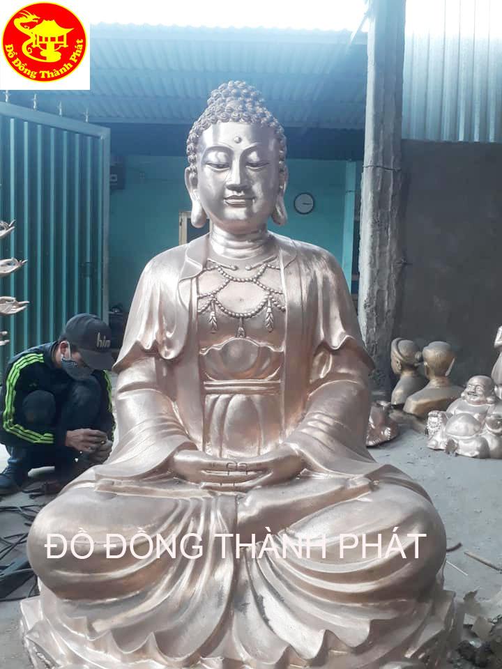 Đúc Tượng Phật Bổn Thích Ca Mâu Ni Ngồi Đài Sen Cao 1,97 m Cho Chùa Quận Đống Đa Hà Nội
